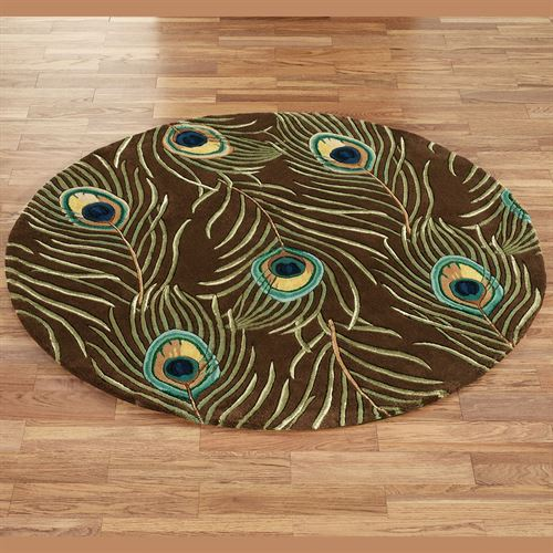 Peacock Feathers Round Rug