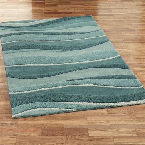 Ocean Landscapes Rectangle Rug Blue