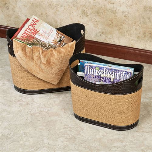 Vidonia Magazine Baskets Straw Set of Two
