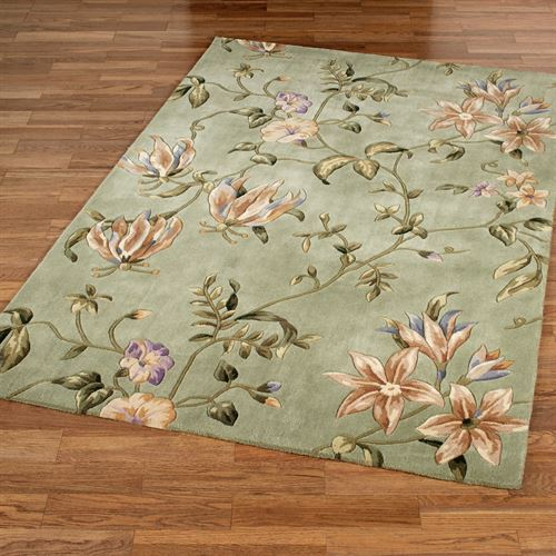 Secret Floral Sage Area Rugs