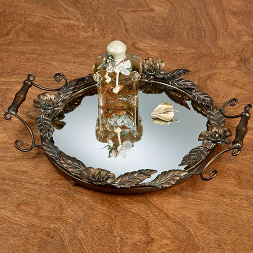 Floral Kisses Mirrored Vanity Tray Bronze