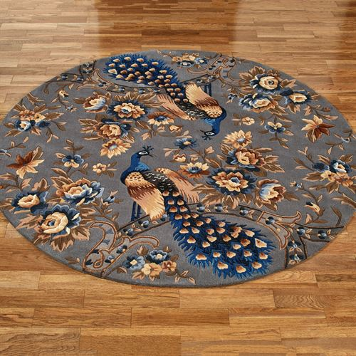 Majestic Peacock Round Rug Slate Gray 56 Round