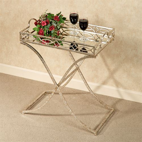 Marla Accent Tray Table Silver with Gold