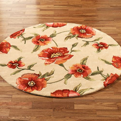 Poppies Round Rug Ivory Orange 56 Round