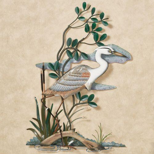 Great Blue Heron Marsh Sculpture Multi Earth