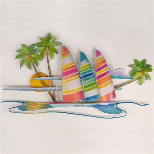 Bright Catamarans Wall Sculpture Multi Jewel
