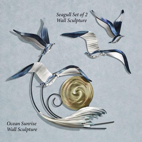 Ocean Sunrise Wall Sculpture Silver Gold