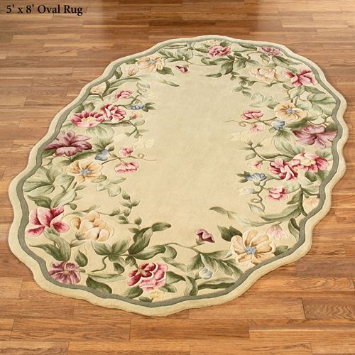 Spring Garden Scalloped Floral Oval Rugs