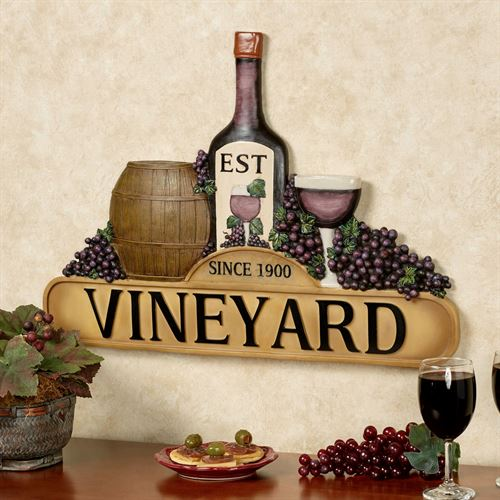 Tuscany Vineyard Wine Wall Plaque Multi Earth