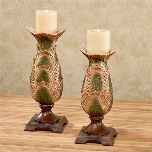 Sunset Palm Candleholders Multi Earth Set of Two