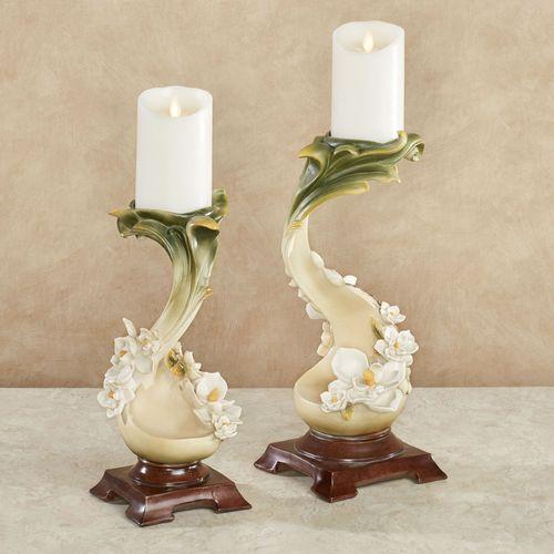 Magnolia Charm Candleholders Ivory Set of Two