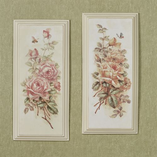 Elegant Roses Wall Plaques Multi Pastel Set of Two