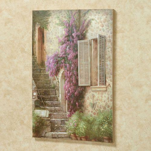 Stairway of Flowers Canvas Wall Art Multi Warm