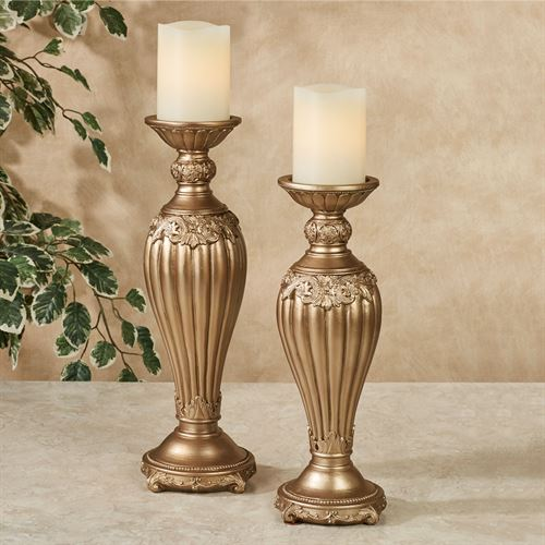 Flowering Medallion Candleholders Aged Gold Set of Two