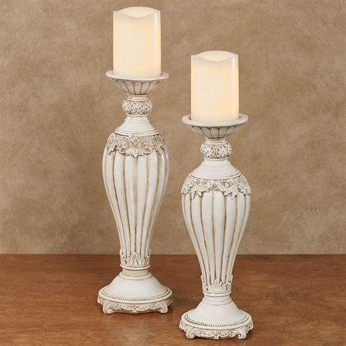 Flowering Medallion Candleholders Antique Ivory Set of Two