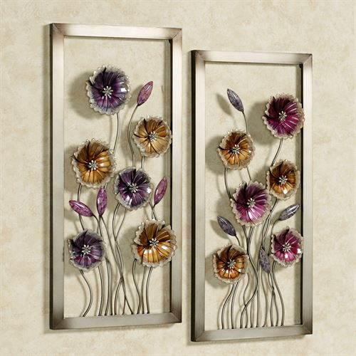 Charming Floral Wall Art Multi Jewel Set of Two