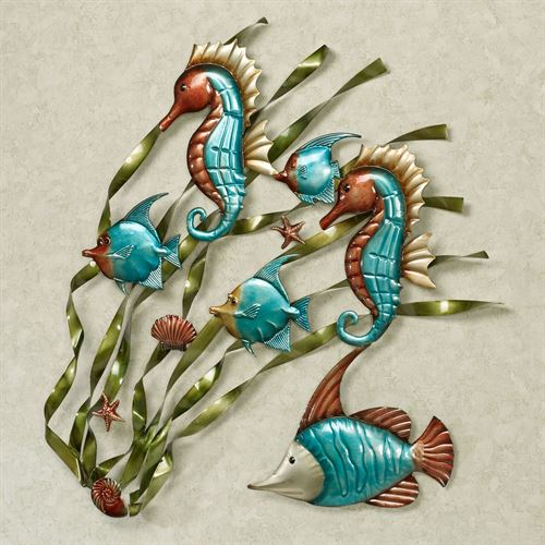 Deep Sea Fish And Seahorse Metal Wall Art