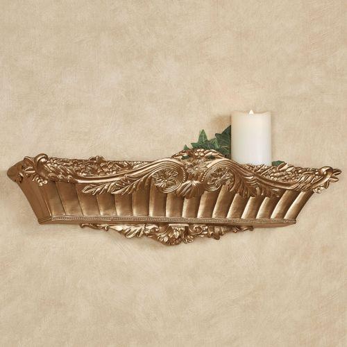 Flowering Medallion Wall Shelf Aged Gold