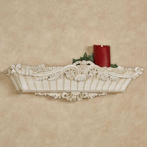 Flowering Medallion Wall Shelf Antique Ivory