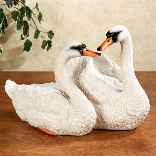 Serene Love Swan Sculpture White