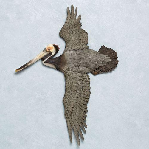 Soaring Pelican Wall Art Sculpture Charcoal