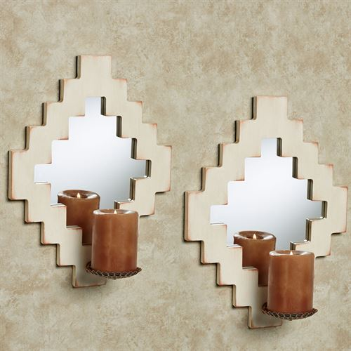 Rockwell Mirrored Wall Sconces Ivory Pair