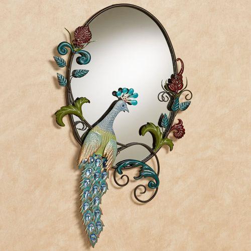 Glorious Peacock Wall Mirror Multi Jewel