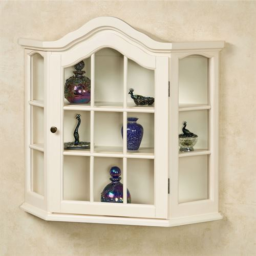 Amelia Whitewash Wooden Wall Curio Cabinet