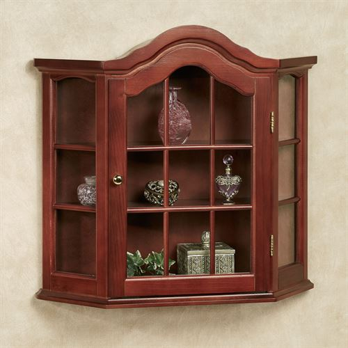 Aubrie Wooden Wall Curio Cabinet Classic Cherry