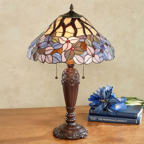Elina Stained Glass Table Lamp Purple Each with CFL Bulbs