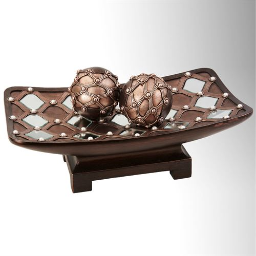 Baldwin Centerpiece Bowl and Orbs Brown Set of Three
