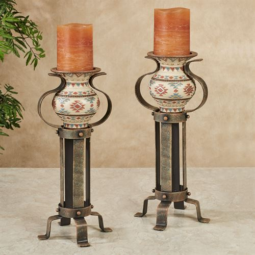 Onawa Candleholders Brown Pair