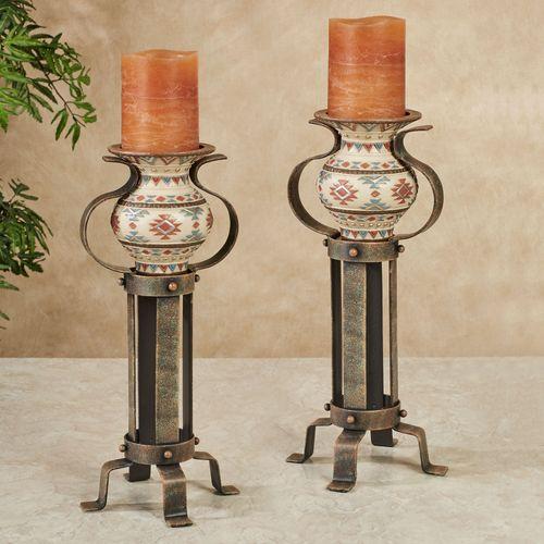 Onawa Candleholders Brown Pair