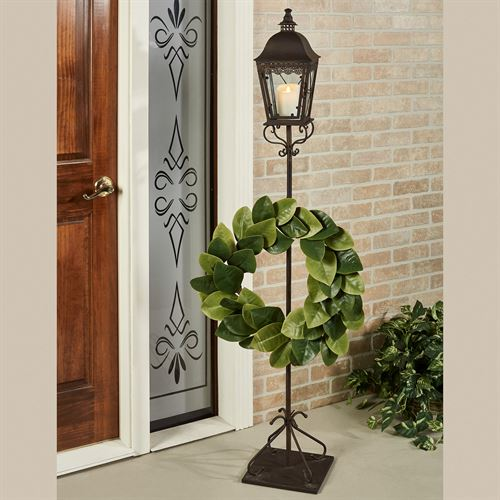 Berkley Lantern Post with Wreath Hook Antique Bronze