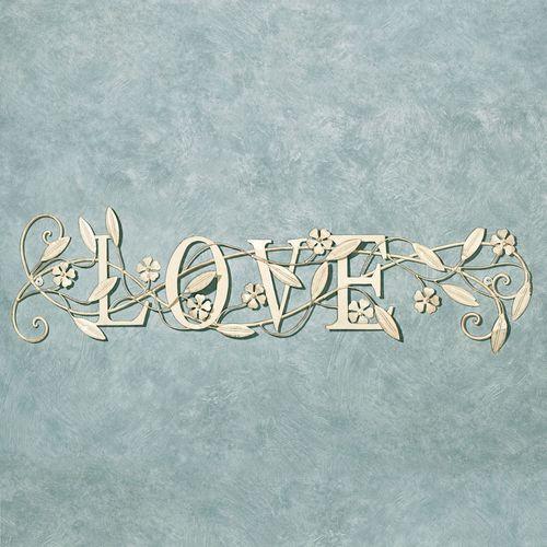 Love Word Wall Art Creamy Gold