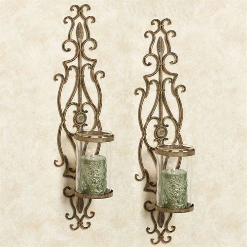 Patton Wall Sconces Antique Gold Pair