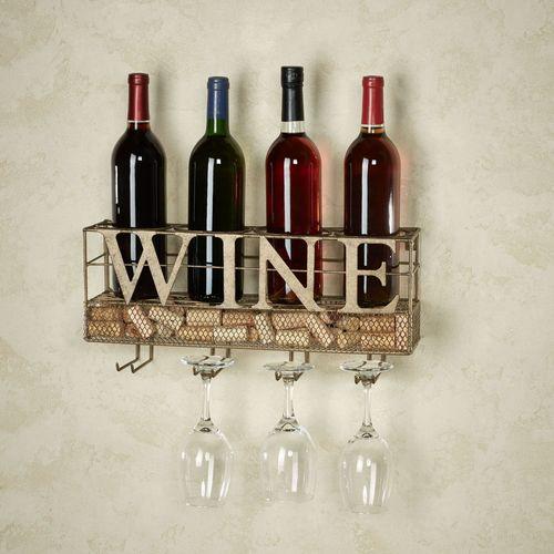 Modern Wine and Stemware Rack Antique Gold