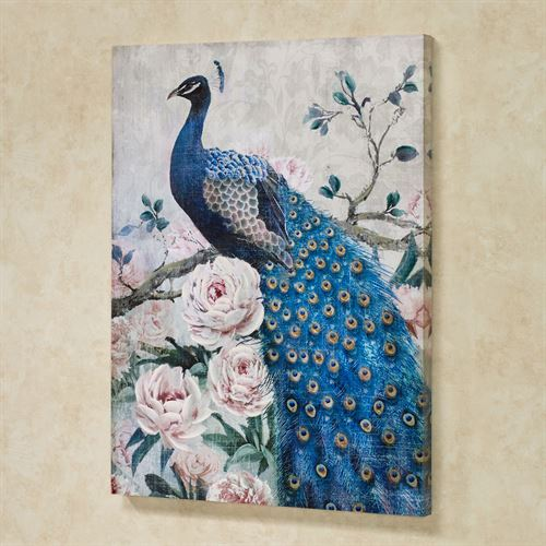 Poised Peacock Canvas Wall Art Multi Jewel