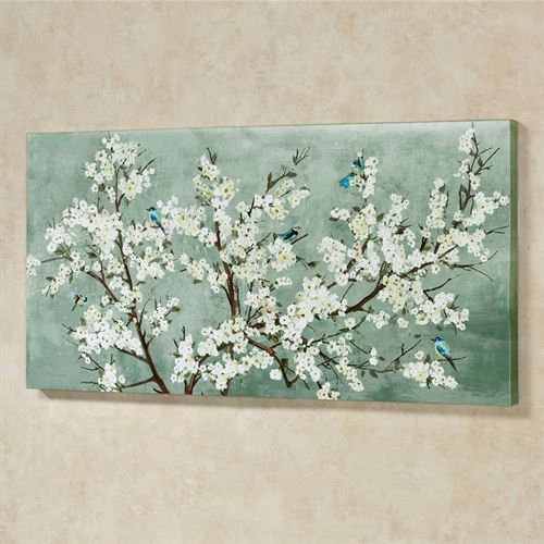 Blissful Branches Canvas Wall Art Blue/White
