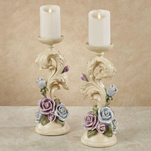 Antique Rose Floral Candleholders Multi Pastel Pair