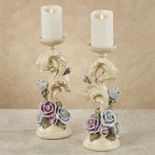 Antique Rose Floral Candleholders Multi Pastel Pair