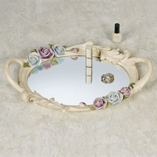 Antique Rose Floral Mirrored Vanity Tray Multi Pastel