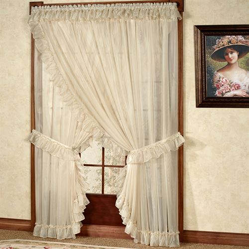 Jessica Ninon Wide Priscilla Curtain Pair White 250 x 84