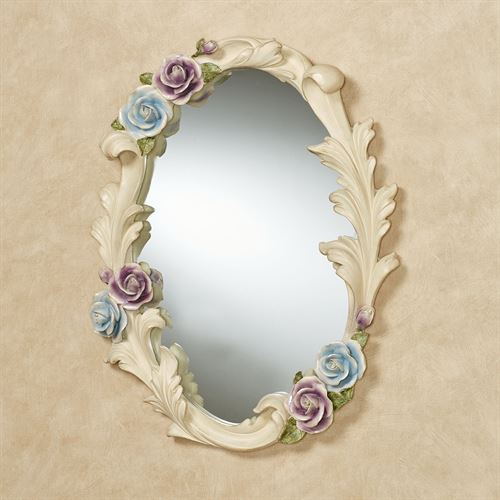 Antique Rose Floral Oval Wall Mirror Multi Pastel