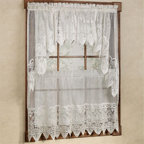 Valerie Macrame Sheer Tier Window Treatment, Lace Curtains Band
