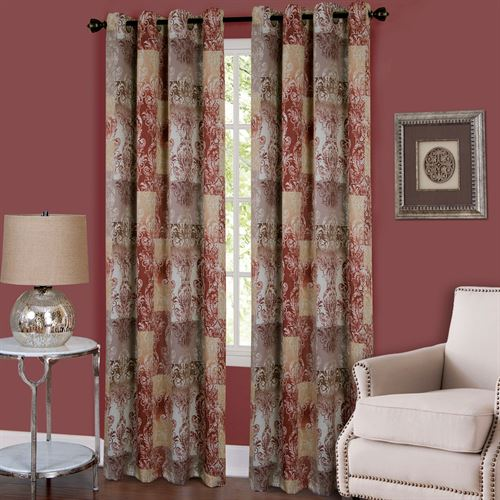 Craze Grommet Curtain Panel Rosewood