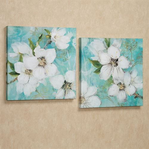 Flowers in Bloom Canvas Wall Art Set White Set of Two