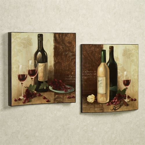 Wine Buffet Curved Plaque Set Multi Earth Set of Two