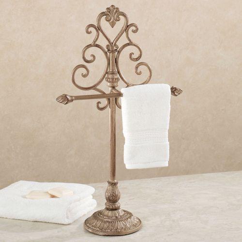 Aldabella Satin Gold Towel Stand/Jewelry Holder