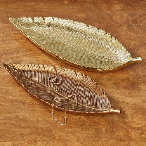 Palm Leaf Decorative Trays Multi Metallic Set of Two
